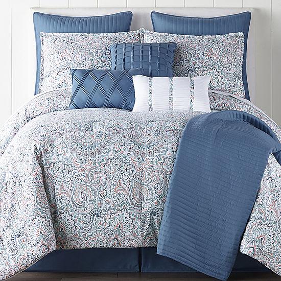 Jcpenney Home Audrey 10 Pc Comforter Set Color Blue Multi Jcpenney Comforter Sets Bed Comforter Sets Blue Bedding