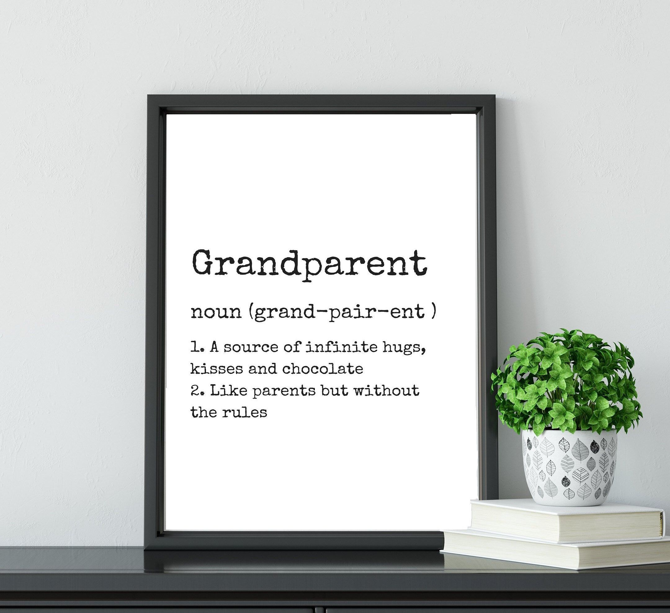 You Choose Colors Gift for Grandma with Grandkids Birthdays Black Frame Available
