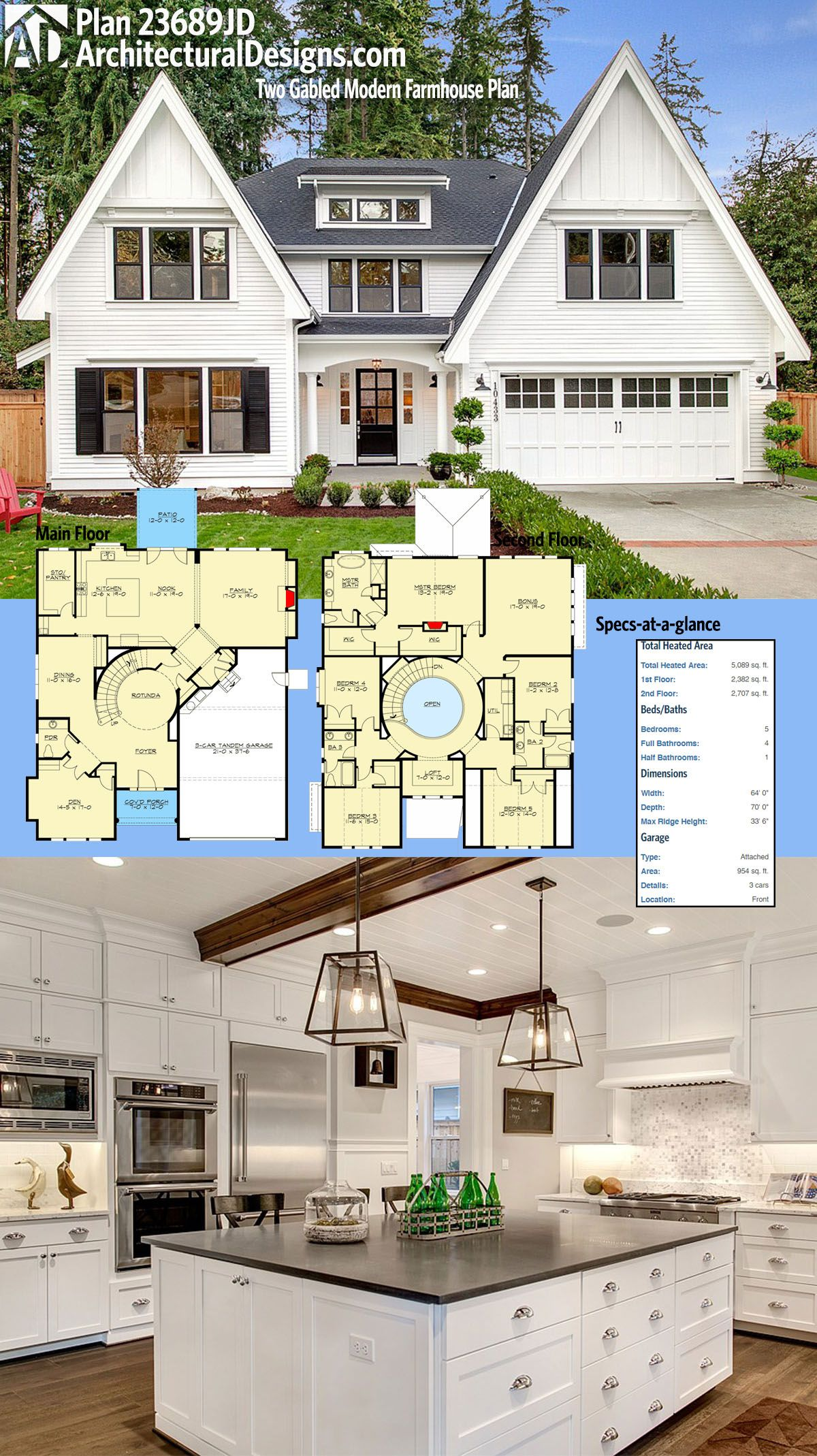 Plan 23689JD Two Gabled Modern Farmhouse Plan Modern