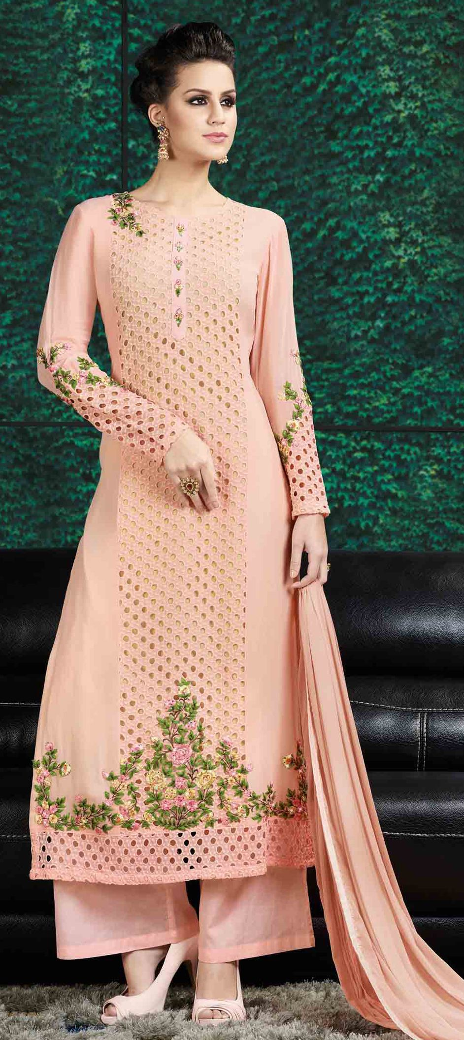 pink and majenta color family semistiched party wear salwar
