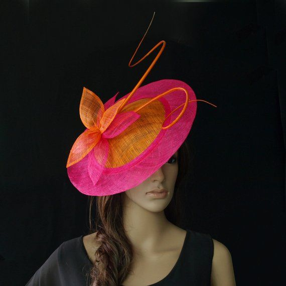 346edc1cc283e Orange hot pink fuschia BIG saucer Sinamay Fascinator Hat with ostrich  spine for wedding