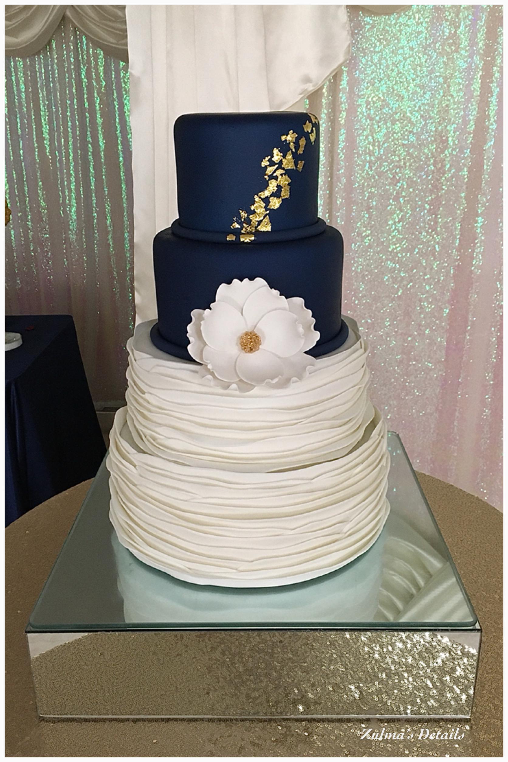 Navy Blue And White Wedding Cake In 2020 Wedding Anniversary Cakes Wedding Cakes Blue Colorful Wedding Cakes
