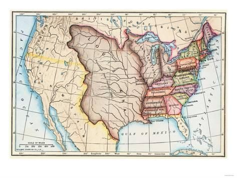 Giclee Print Map of the U S in 1803 Showing the Louisiana