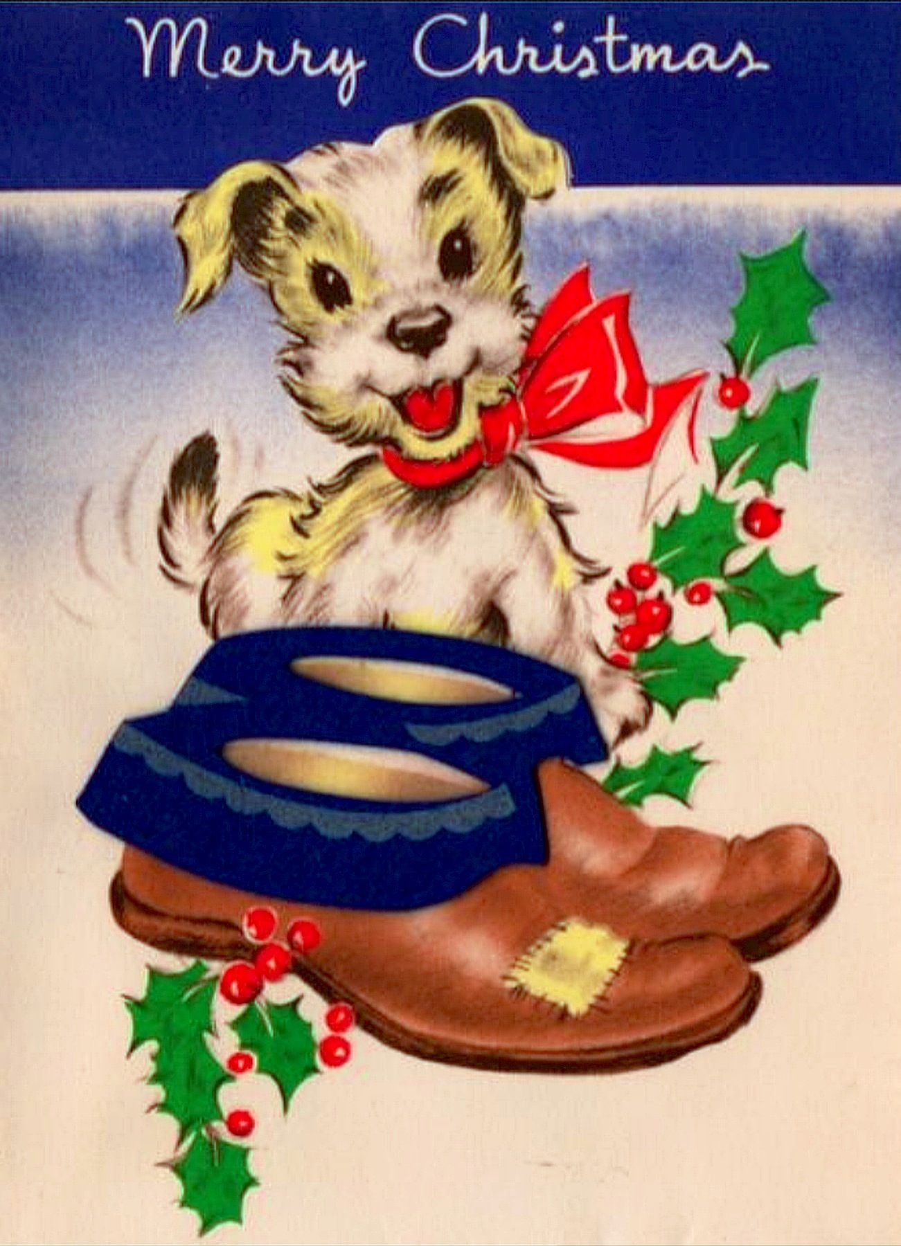 Vintage Greeting Card Christmas Puppy Dog Shoes O158