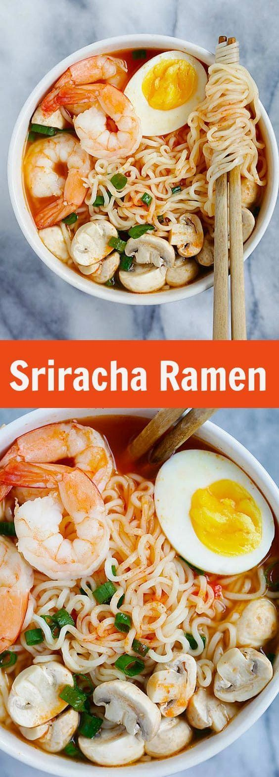 Ramen - the best homemade ramen ever with spicy Sriracha broth and yummy toppings. So easy and takes only 15 minutes |