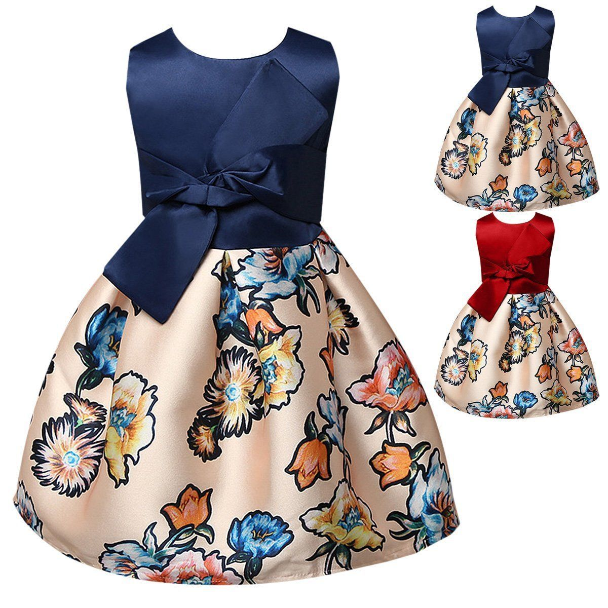 Awesome amazing flower girls bowknot princess dress kids baby party