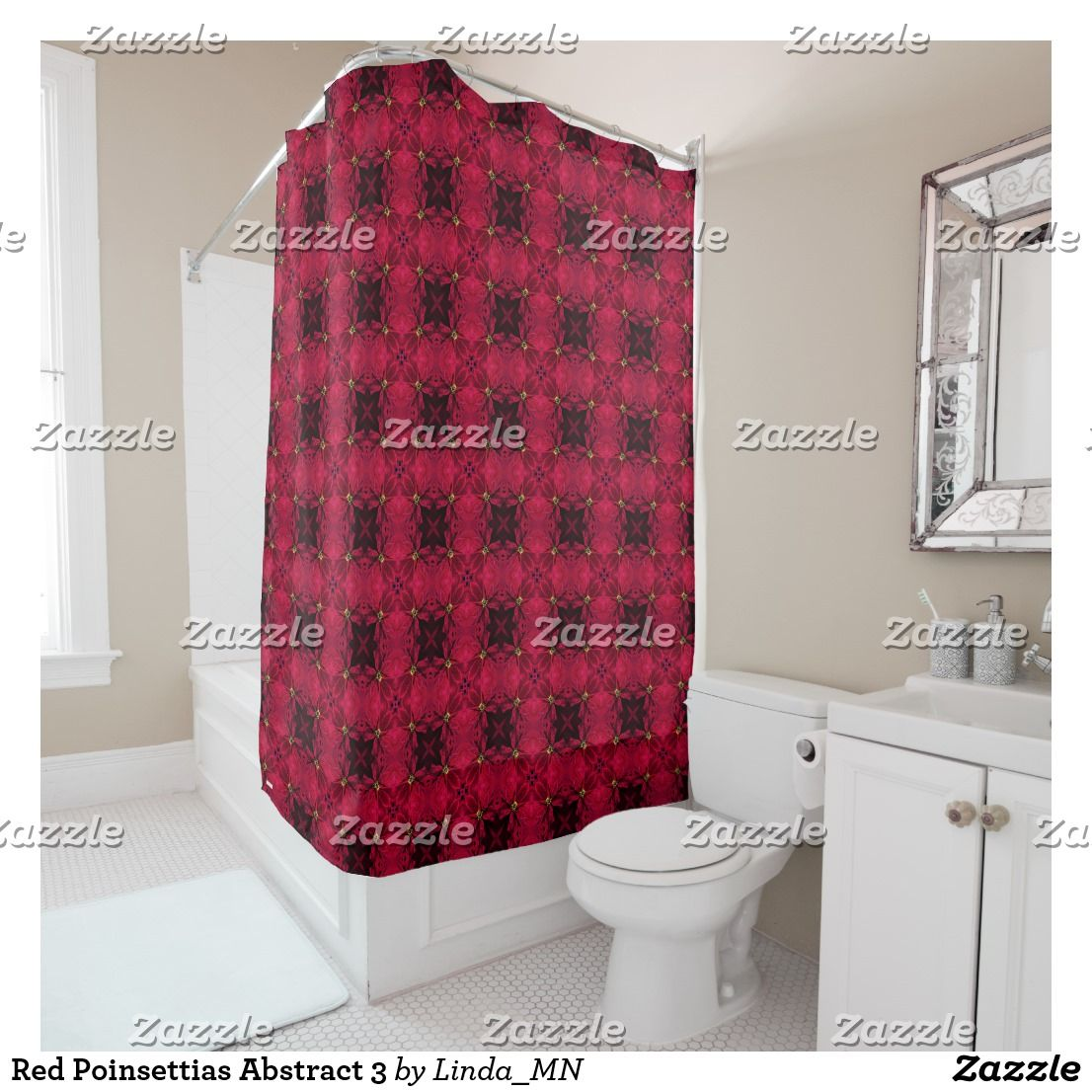 Red Poinsettias Abstract 3 Shower Curtain