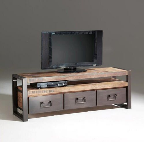 Meuble Tv En Bois Recycle Teck Et Metal 3 Tiroirs Isis