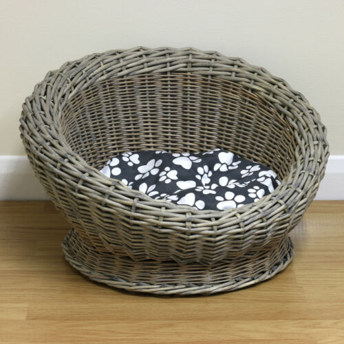 Details about Small Round Woven Natural Wicker Shabby Chic