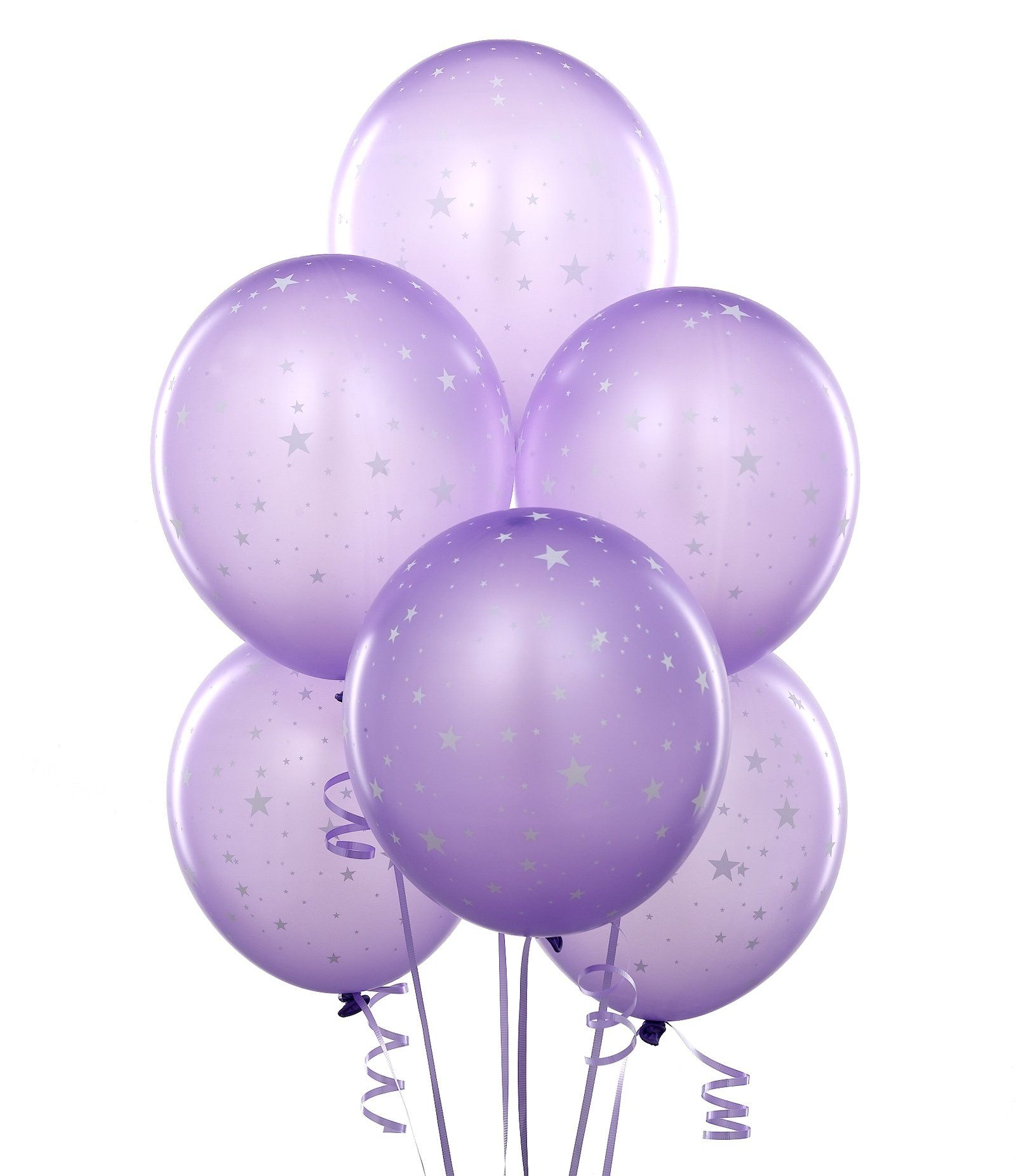 Lavender Balloons With Stars Purple Balloons Transparent