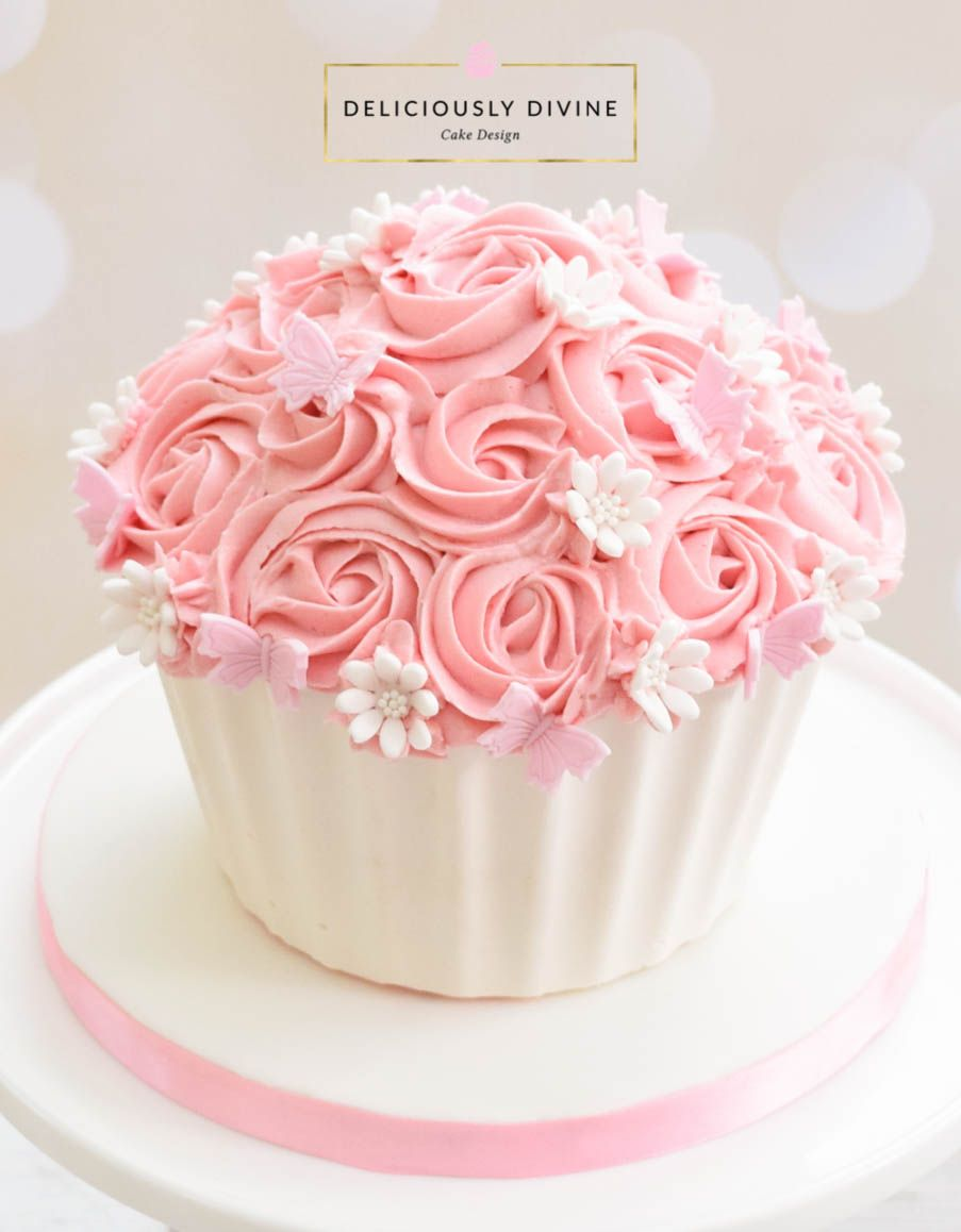 A Cake Smash Giant Cupcake For A Girls 1st Birthday Sweet Pretty
