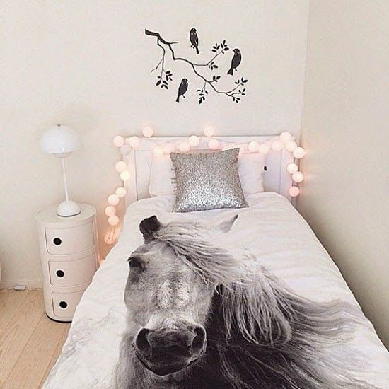 horse bedroom ideas. Love The Bird Silhouette  Lights Nightstand And Horse Bedding Mommo Design FAIRY LIGHTS Tip Ice Su Mi Pjevale Na Uhama