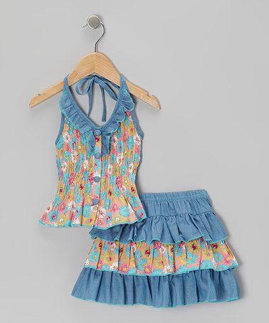 Light Blue Floral Halter Top & Tiered Skirt - Toddler & Girls by Lele Vintage #zulily #zulilyfinds