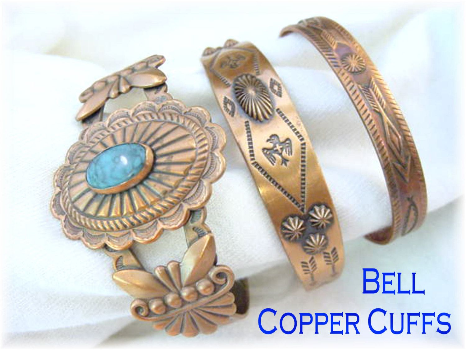 Bell Copper Cuff Native American Bracelet Set - Kingman Turquoise - Western Navajo Concho Thunderbird Snakes - Arizona Estate FREE SHIPPING