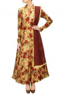 Earthy gold and red floral printed anarkali set