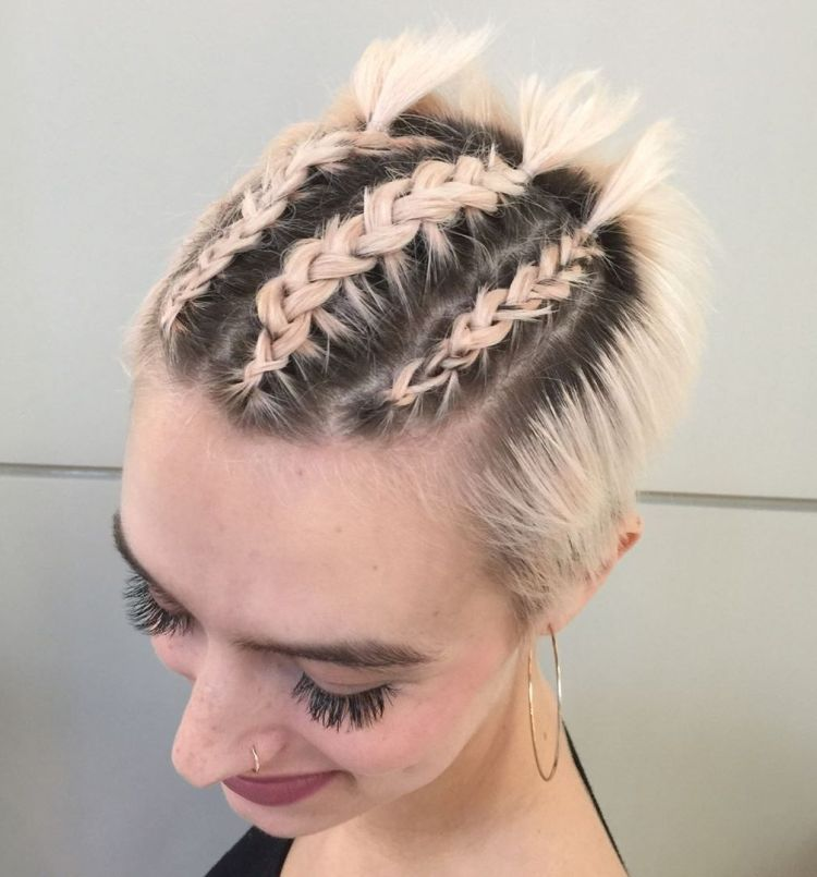 A Bunch Of Short Braid Styles On This Site Some Really Interesting Styles That Could Be Worn By Py Really Short Hair Short Hair Tutorial Braids For Short Hair