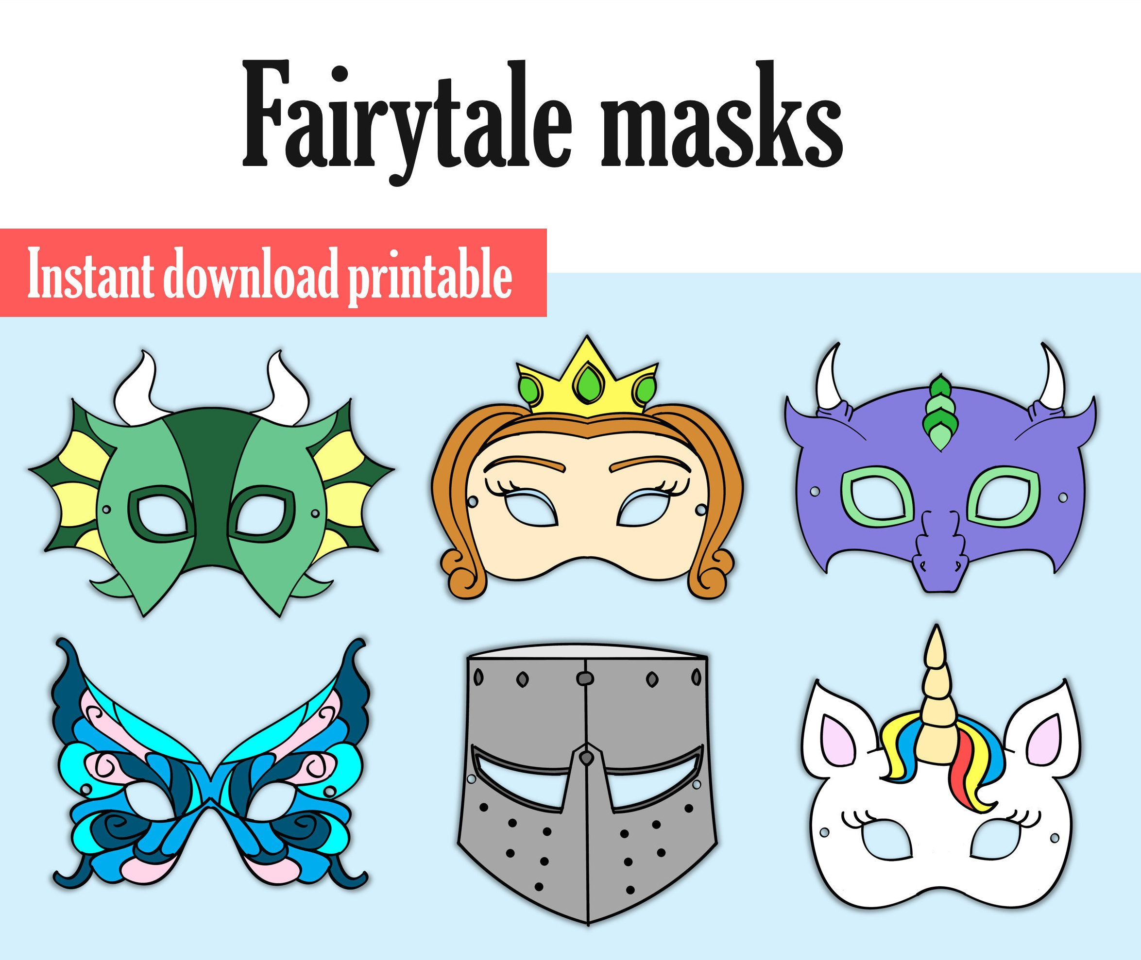Dragon mask Unicorn mask Me val Party Kid Party Printable