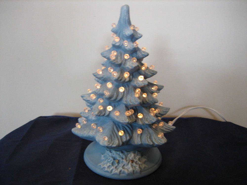 Vintage Ceramic Christmas Tree Light Blue With White Bulbs