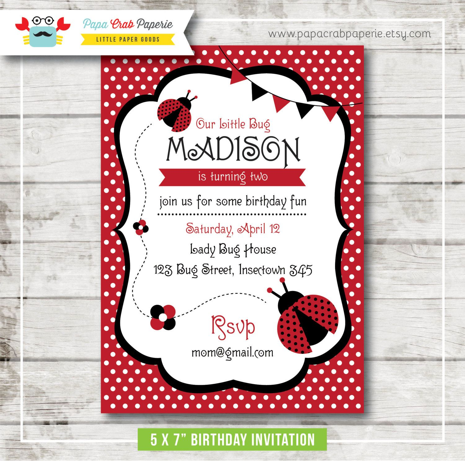 Lady Bug Birthday Party Invitation DIY Party Printables First