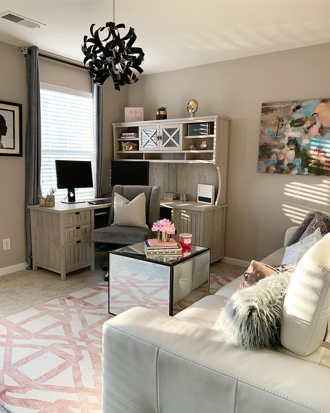 Ashleigh Spencer On Instagram Swipe To See The Before Of The Boss Lady Office Project We Turned Thi Home Office Bedroom Cozy Home Office Lounge Areas #office #and #living #room