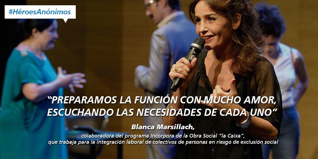 """Infografía sobre Blanca Marsillach, colaboradora del programa Incorpora de la Obra Social """"la Caixa"""". #HéroesAnónimos"""