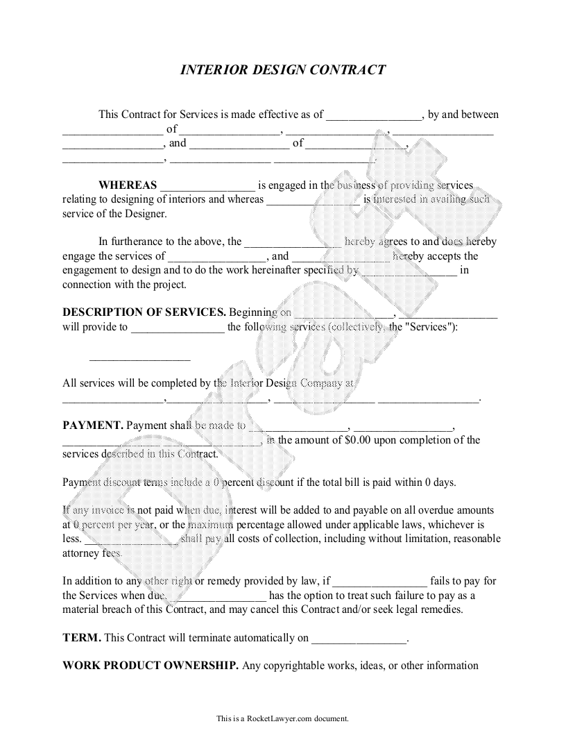 Sample Interior Design Contract Form Template Contract