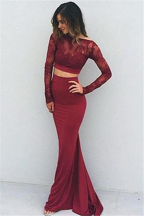 Modern Long Sleeve Two Piece Prom Dress 2016 Lace Sweep Train Prom