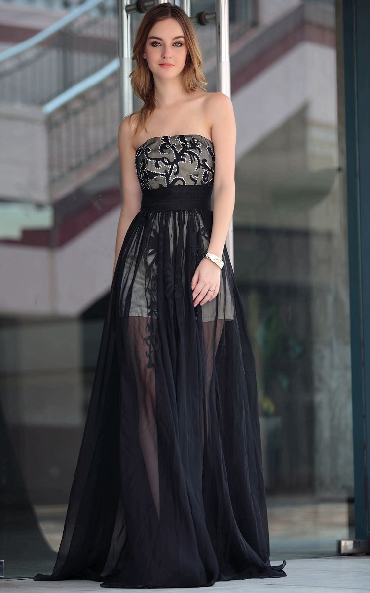 Stock available new fashion black tulle legs seethrough dresses