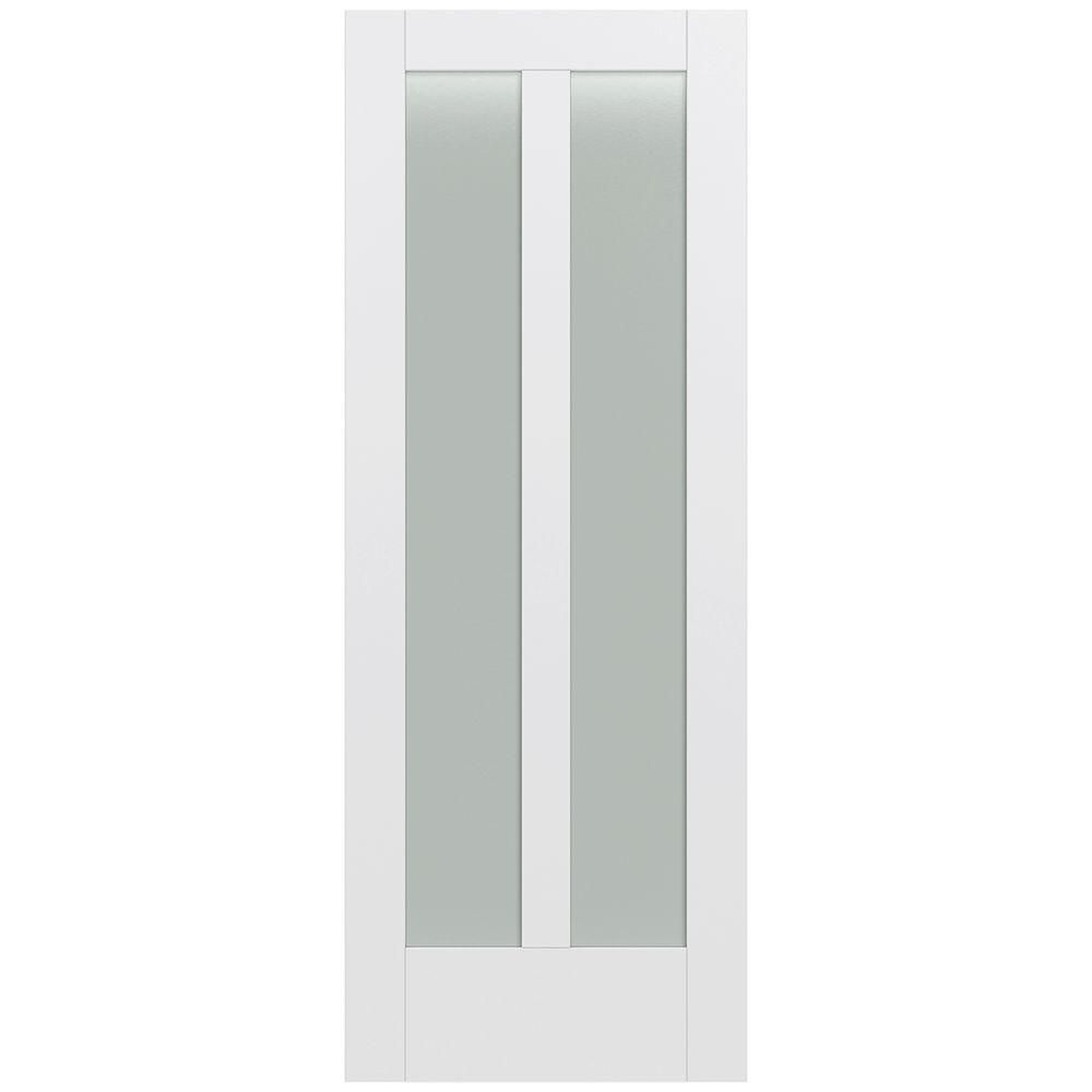 Moda primed white lite solid core wood interior door slab with translucent glass panel also jeld wen in  rh pinterest