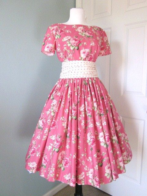 Vintage style Dress 1960s Pink Roses Garden Party by TenderLane ...