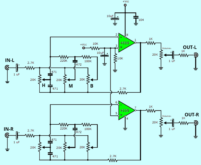 Stereo Tone Controlled 12V Amplifier Circuit with TDA2003 4558