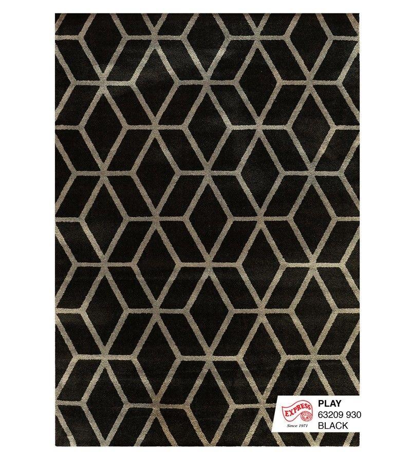 พรมขนสั้น โมเดิร์น รุ่น เพลย์ สีดำ (มีรูปภาพ) พรมปูพื้น, พรม