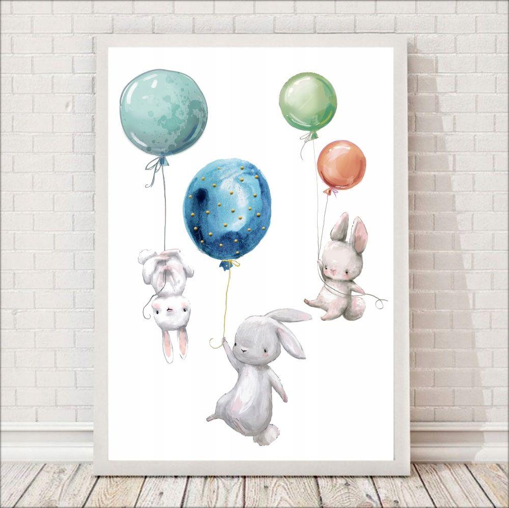 Pastelowy Plakat Dla Dzieci 3 Zajączki I Balon A3 W 2019
