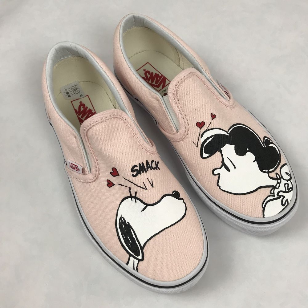 31747a9af0e144 New Vans x PEANUTS Slip On SNOOPY LUCY Charlie Brown Pink Smack Shoes Kids  US 2