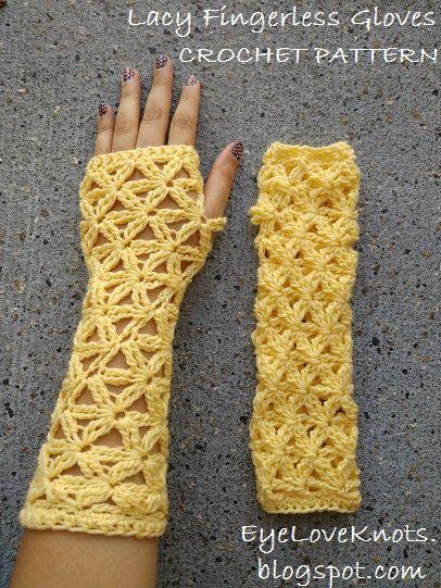 Crochet Pattern Lacy Fingerless Gloves Lacy Wristers Crochet