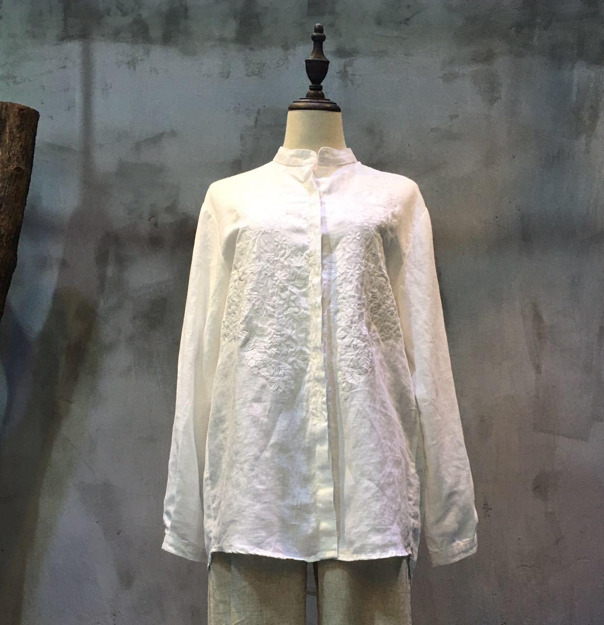 Best-Selling Flower Embroidery Cotton Linen Blouse Womans Decent Clothes  #white #blouse #shirt #top #embroidery #cottonlinen #amazing #decent #elegant