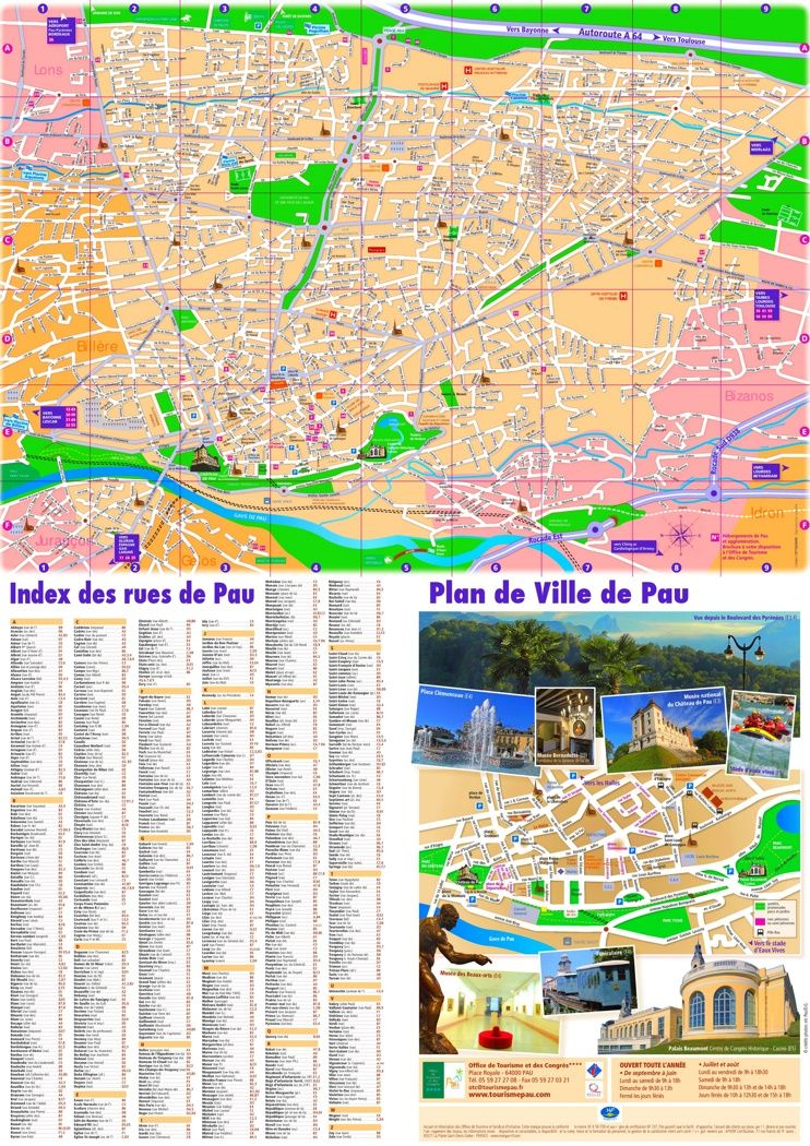 Pau tourist map Maps Pinterest Tourist map France and City