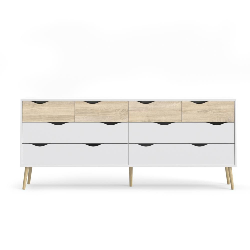 Tvilum Diana 8 Drawer White Oak Structure Dresser 7545549ak The Home Depot Small White Dresser Modern Dresser Small Dresser [ 1000 x 1000 Pixel ]