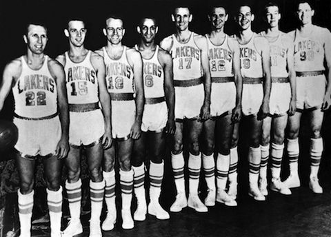 1952 World Champion Minneapolis Lakers With Stars George Mikan 99 And Vern Mikkelsen 19