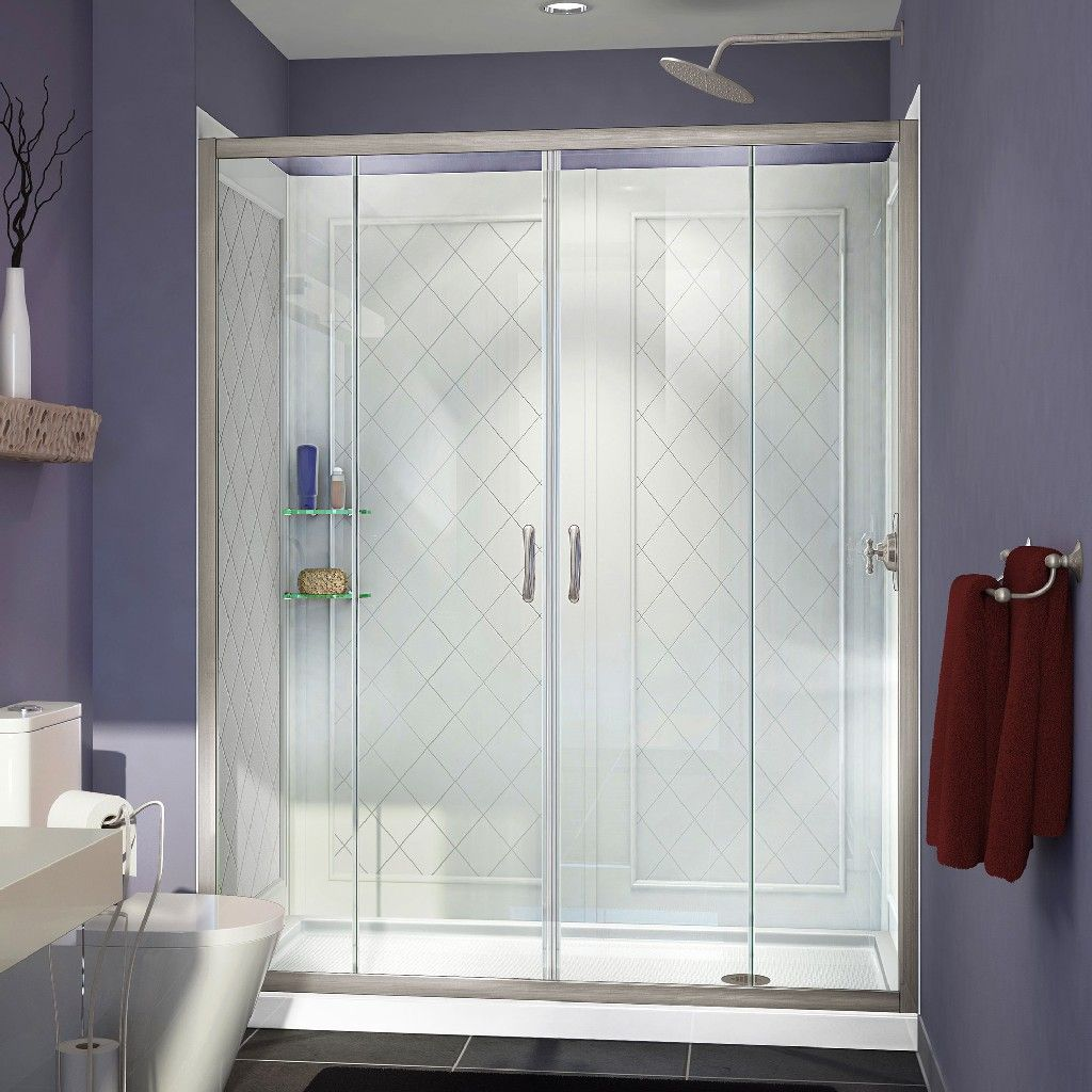 DreamLine Visions Frameless Sliding Shower Door, 36 by 60 Single Threshold Shower Base Right Hand Drain & QWALL-5 Shower Backwall Kit - Dreamline DL #framelessslidingshowerdoors