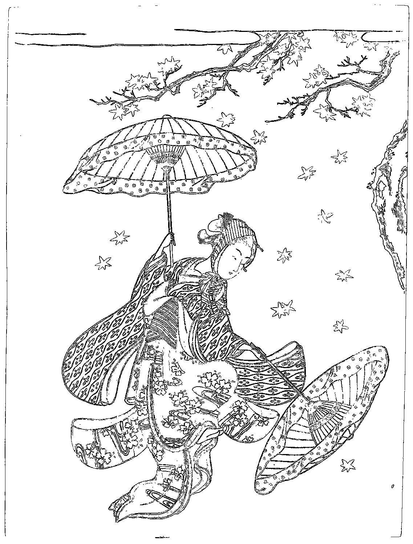 浮世絵 Ukiyoe 塗り絵 Coloring 鈴木春信 Suzuki Harunobumaple Leaf