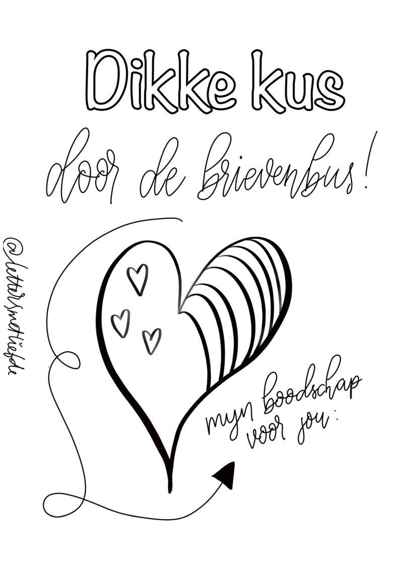Kleurplaat Dikke Kus Door De Brievenbus Letters Met Liefde Kaarten Maken Handletteren Brief Kaart Maken Liefde
