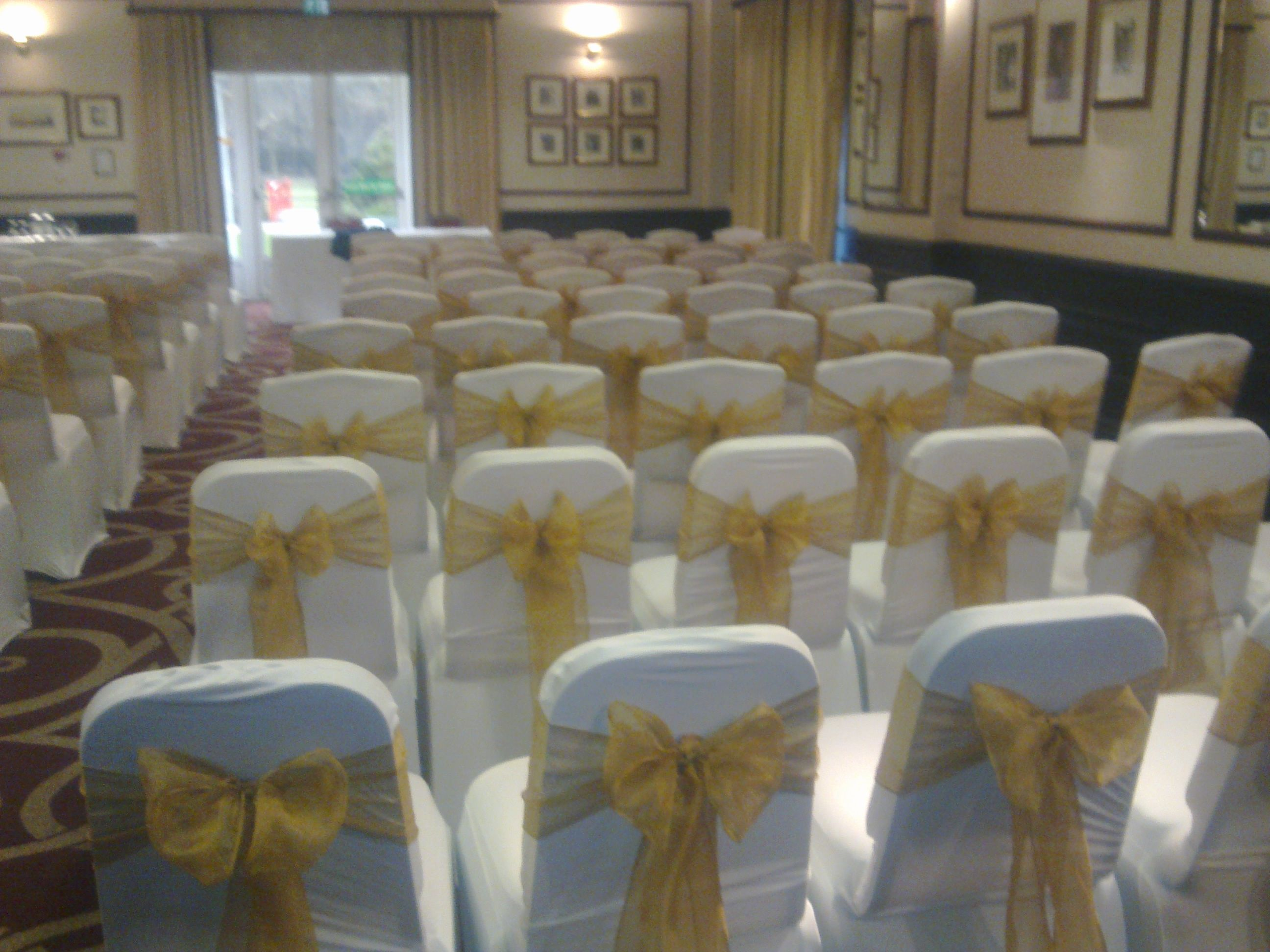 wedding chair cover hire west yorkshire and a half slipcover gold covers at sopwell house ideas