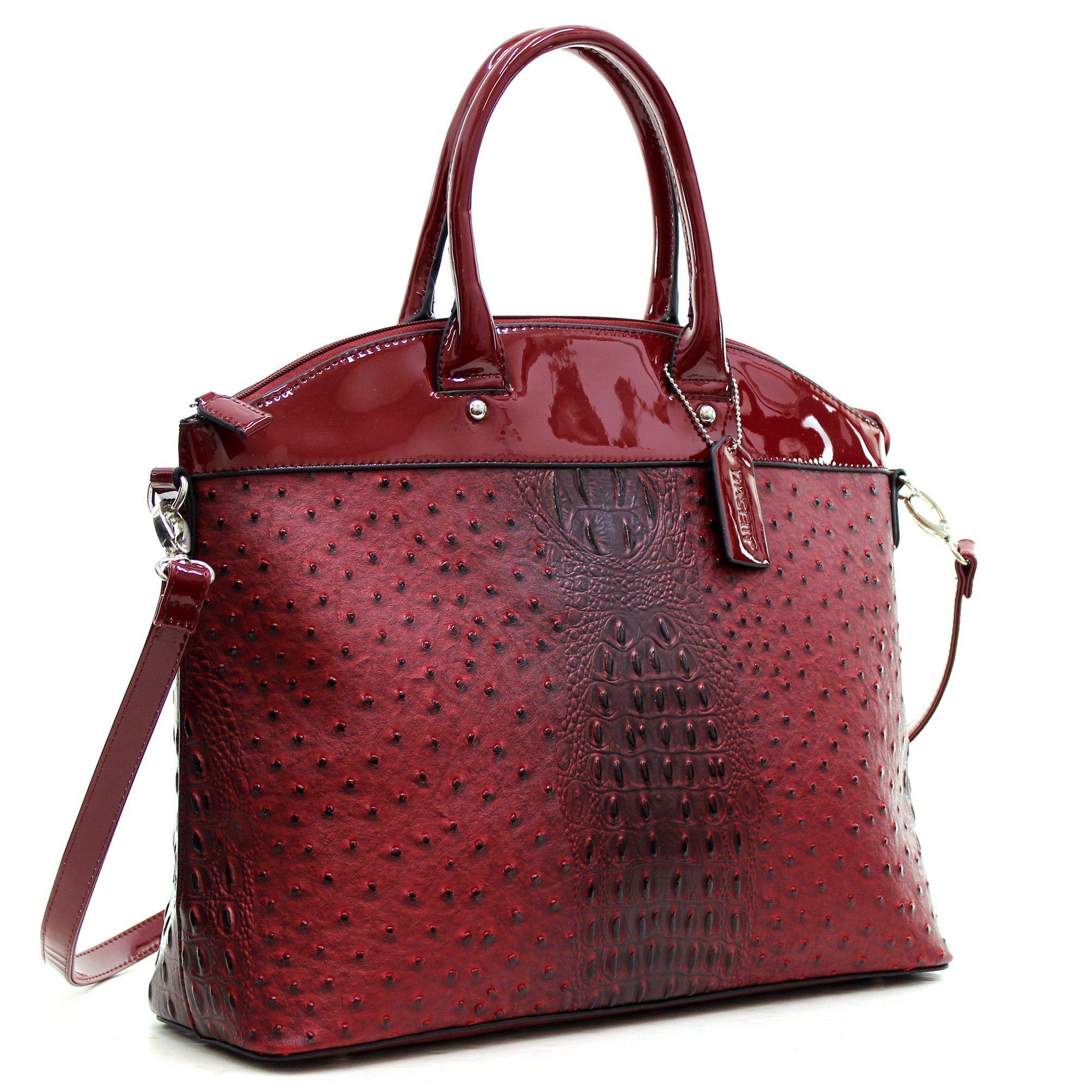 Women Ostrich Finish Handbag Satchel Briefcase Bag w// Matching wallet Porch