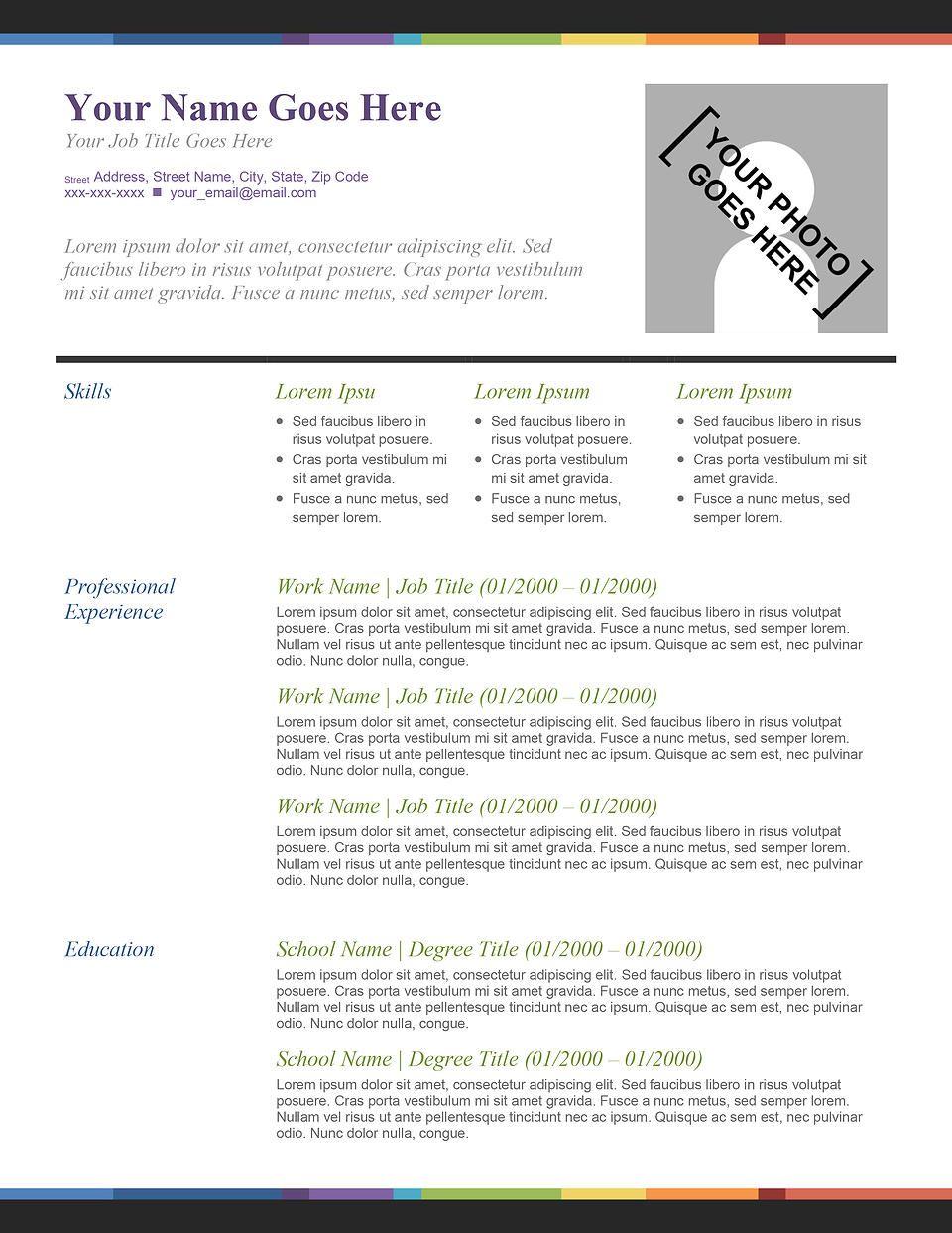 Splash Of Color Resume Template Resume Templates Best Resume