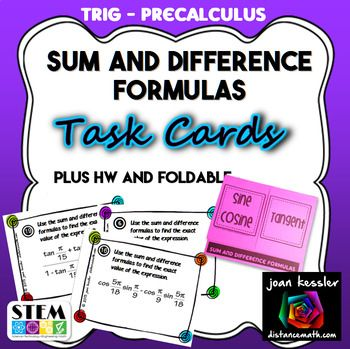 Sum and Difference Identity Formulas Task Cards plus