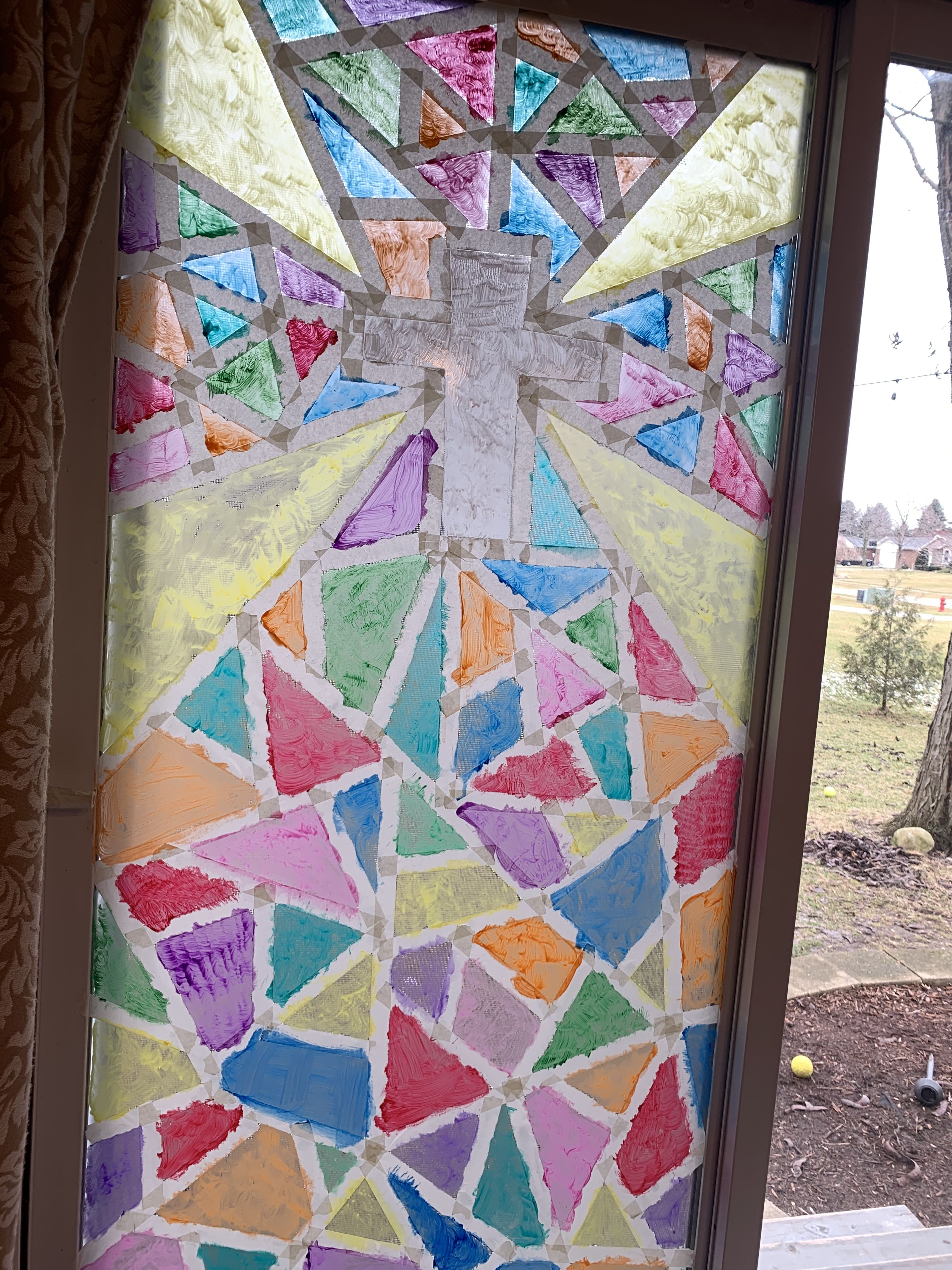 Stain Glass Window Easy For Kids Painters Tape Design Window Painting Washable Paint