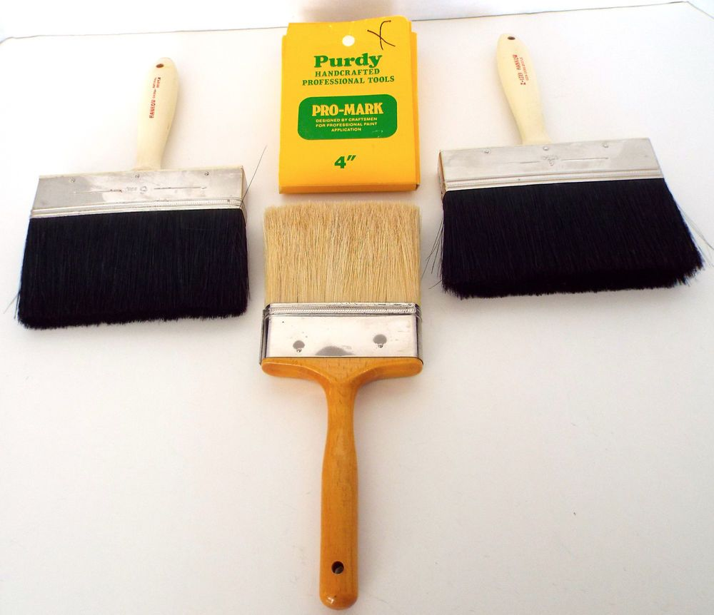3 Vintage Professional Bristle Paint Brushes 6 Hankow 4 Purdy Wooster Platinum Purdyhankow Bristle Paint Brush Paint Brushes Purdy