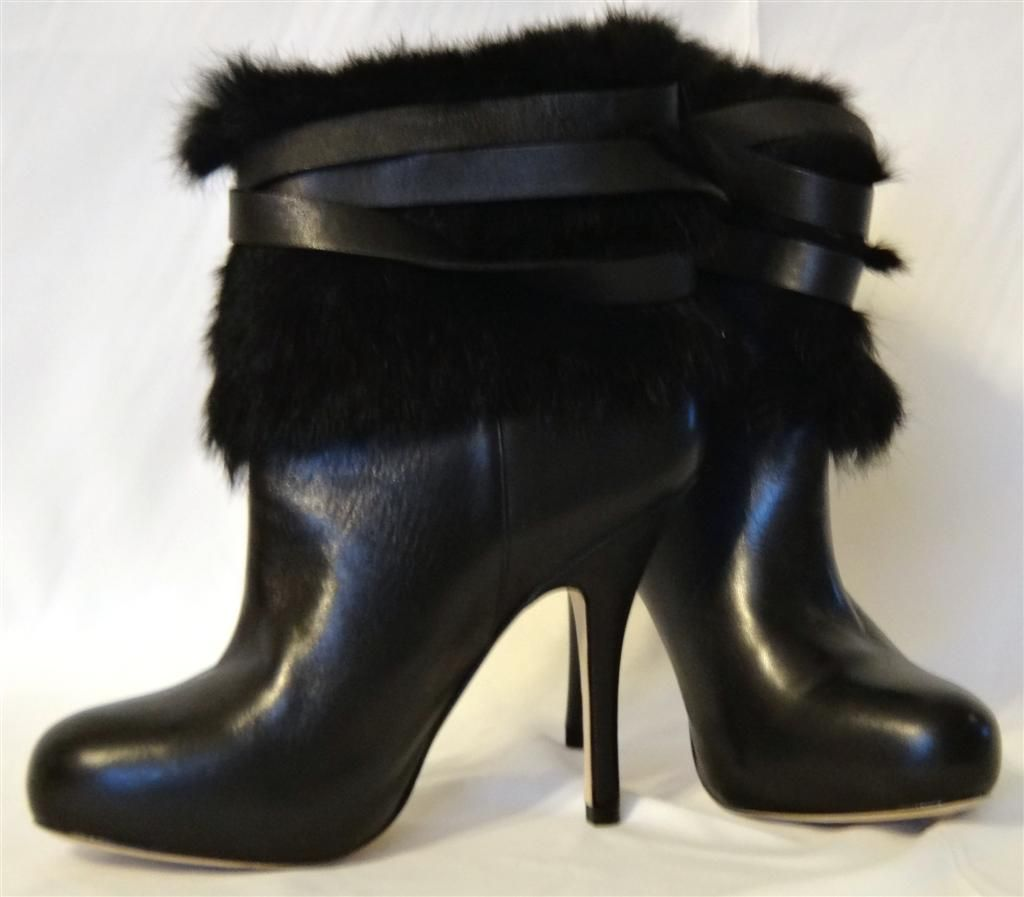 coach boots coach leather black rabbit fur high heel