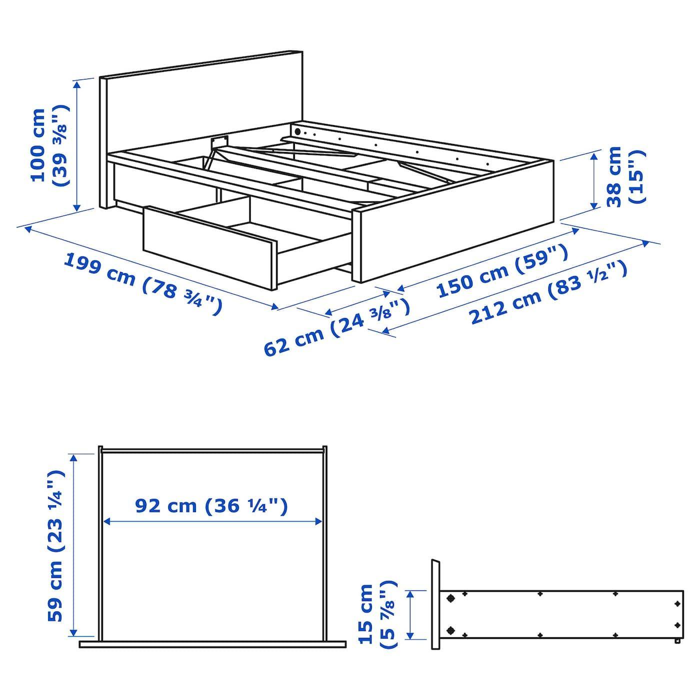 IKEA MALM White High bed frame/2 storage boxes Саморобні